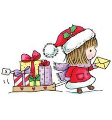 "Mädchen mit Schlitten ""Gift of Giving"" Holzstempel - Penny Black"