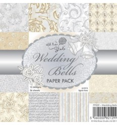 "Wild Rose Studio Scrapbooking Papier Wedding Bells 6""x6"""