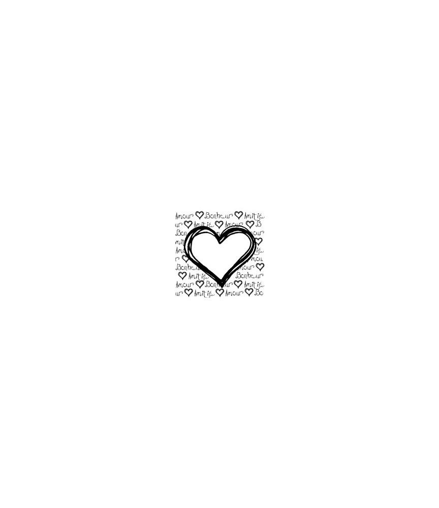 Herz mit Schrift Amour, Bonheur, Amitié Stempel