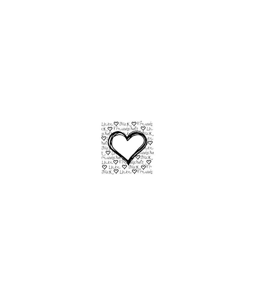 Herz mit Schrift Liebe, Glück, Freundschaft Stempel