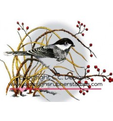 C.C. Designs Cling Stempel Winter Chickadee