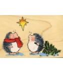 2 Igel mit Weihnachtsbaum Stempel