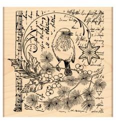Vogel auf Zweig mit Noten Holzstempel - Penny Black