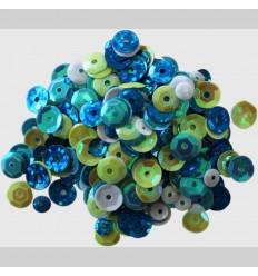 Pailletten Blau, Weiss, Grün - Clear Scraps
