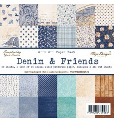 "Scrapbooking Papier - Denim & Friends - 6"" x 6"" - Maja Design"
