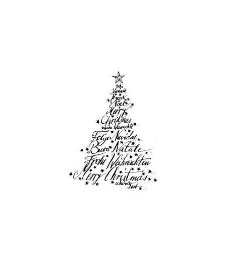 Text Weihnachts Baum Holzstempel