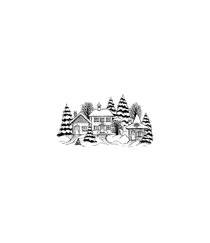 Dorf im Schnee Stempel