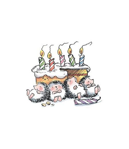 Geburtstagskuchen mit 4 Igel Stempel