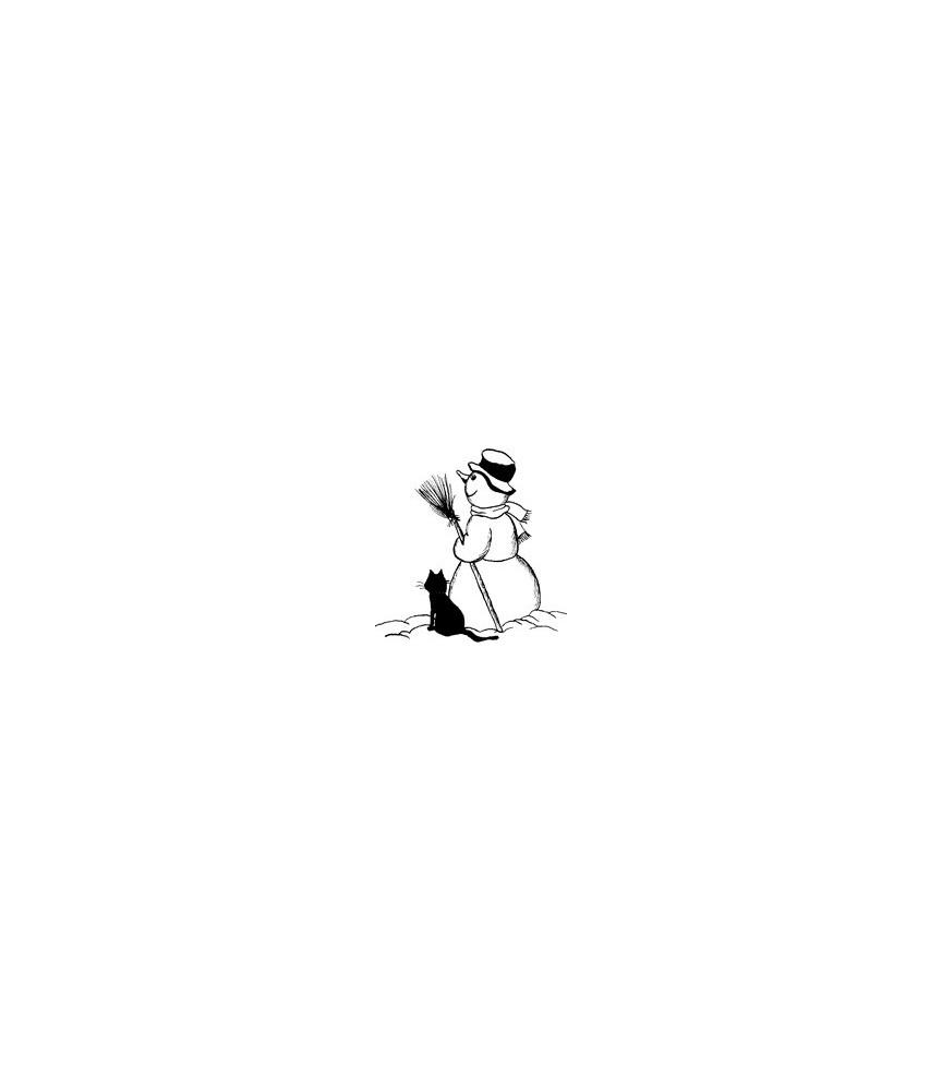 Schneemann mit Katze Stempel