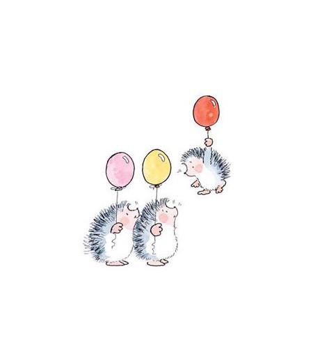 Tampons bébé / Drei Igel mit Ballon Stempel