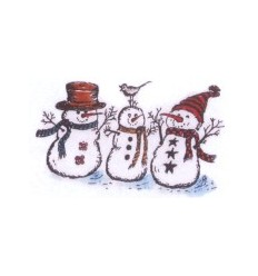 3 Schneemänner Holzstempel