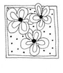 3 Blumen in Rahmen mit Punkte