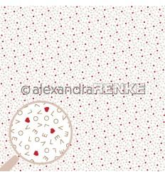 Scrapbooking Papier Love Letters mit roten Herzen - Alexandra Renke