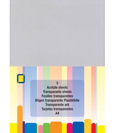 Transparente Plastikfolie (Acetat), A4, 5 Stk. - FK