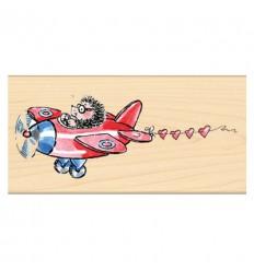 Holzstempel Igel im Flugzeug - Penny Black