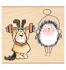 Holzstempel Hund und Igel beim Workout - Penny Black