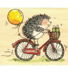 Holzstempel Igel auf Fahrrad - Penny Black