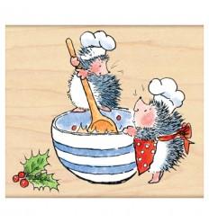 Holzstempel Igel in der Weihnachtsbäckerei - Penny Black