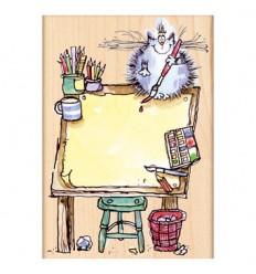Holzstempel Katze auf der Staffelei - Penny Black