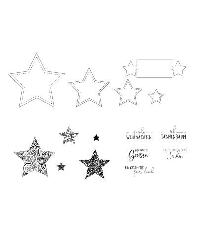 Stanzschablonen und Stempel Set Sterne - MS
