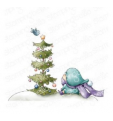 Cling Stempel Girl with Christmas Tree and Bird - StampingBella