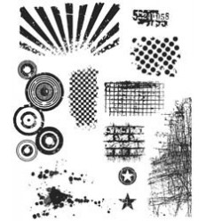 Tim Holtz Cling Stempel Set Bitty Grunge