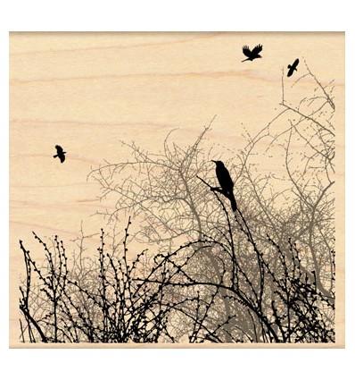 Winter Sky Birds Stempel