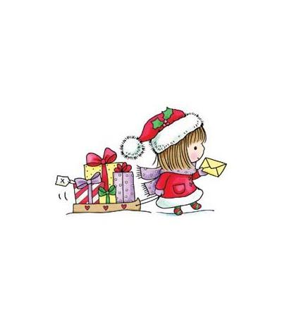 Mädchen mit Schlitten Stempel - Gift of Giving