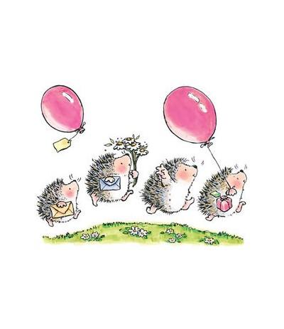 4 Igel mit Ballon und Brief