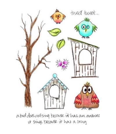 Jofy Stempelplatte Birds and House