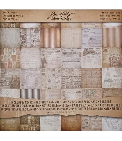 "Tim Holtz Scrapbooking Paper French Industrial 12"" x 12"""