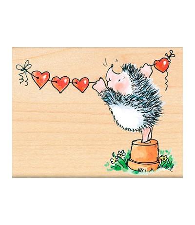 Penny Black Holz Stempel Igel mit Herzgirlande