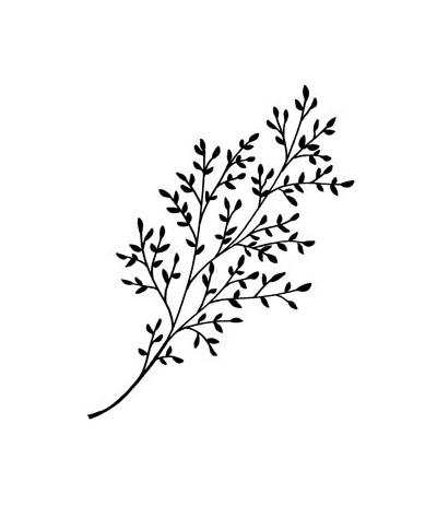 Artemio Holz Stempel Zweig mit Blätter