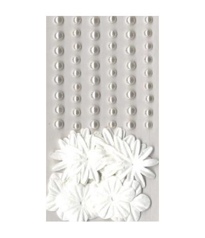 Artemio Papierblumen und Perlen weiss