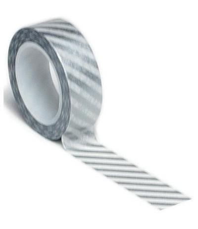Washi Tape Diagonale Streifen Silver