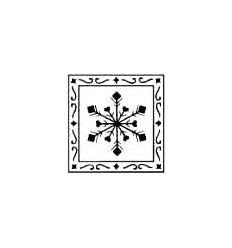 Schneeflocken in Rahmen Stempel