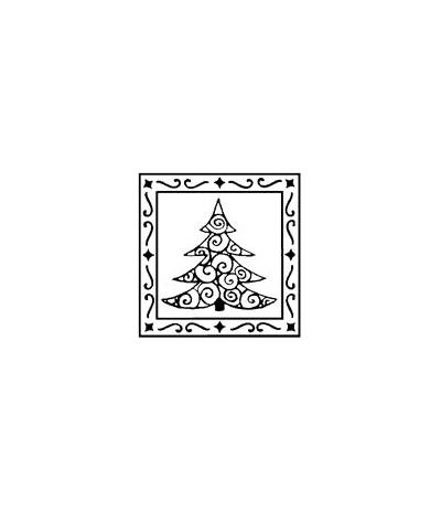 Tannenbaum in Rahmen Holzstempel