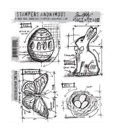 Blueprint Easter Cling Stempel Set - Tim Holtz