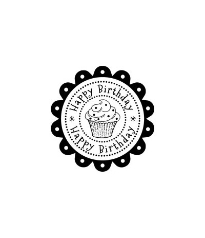 Happy Birthday Rosette Stempel