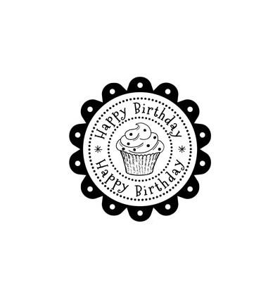 Happy Birthday Rosette Stempel