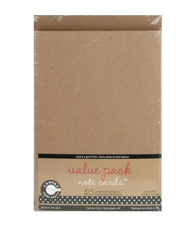 Canvas Note Cards 25 Karten und Kuverts Kraft
