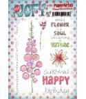Jofy Stempelplatte Blumen mit Text