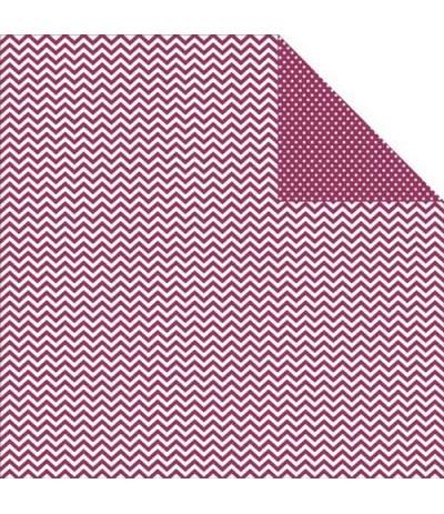 Simple Stories Scrapbook Papier Chevron/Mini Dots Berry