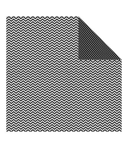 Simple Stories Scrapbook Papier Chevron/Mini Dots Black