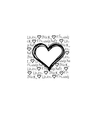 Herz mit Schrift Liebe, Glück, Freundschaft Holzstempel