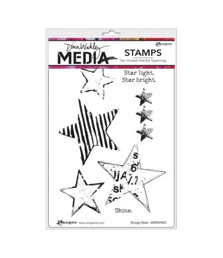 Dina Wakley Cling Stempel Grungy Stars
