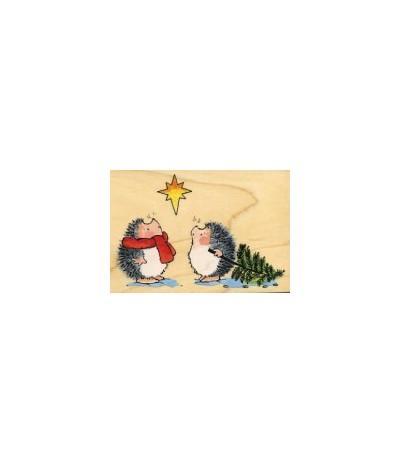 2 Igel mit Weihnachtsbaum Holzstempel - Penny Black