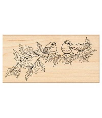 3 Vögel auf Stechpalme Holzstempel - Penny Black