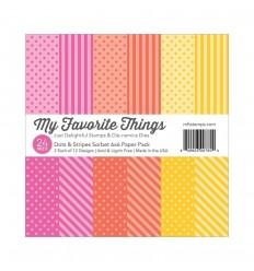 "My Favorite Things Scrapbook Papier Dots & Stripes Sorbet 6""x6"""