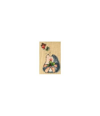 Weihnachtsigel mit Vögelchen Holzstempel -Penny Black